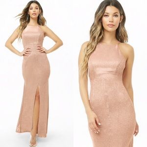 NEW Blush Silver Glittered Bodycon Gown